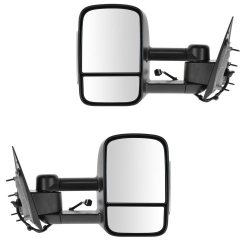 14-15 GM Silverado Sierra Dual Arm Telescopic Pwr Htd (w/Smoke Signal on Hsg) Text Blk Tow Mir PAIR