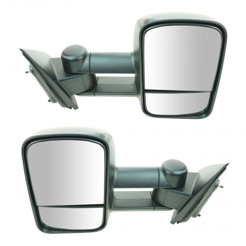 14-15 Chevy Silverado, GMC Sierra 1500, 2500, 3500 Textured Black Manual Telescoping Tow Mirror PAIR