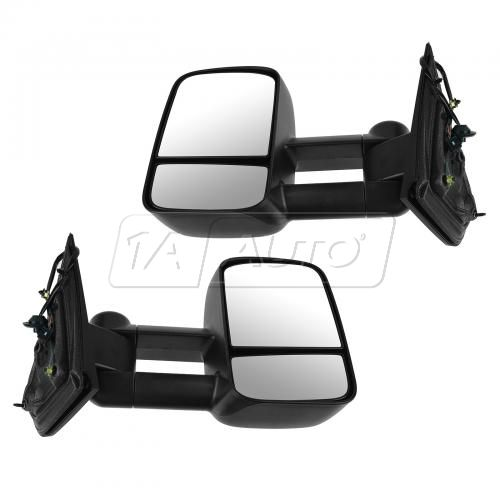 14-15 Chevy Silverado, GMC Sierra 1500 Textured Black Power, Heated, Telescoping Tow Mirror PAIR
