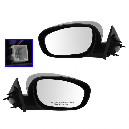 06-10 Chrysler 300, Dodge Charger; 05-08 Magnum Fixed Power Heated Black w/Chrome Cap Mirror PAIR