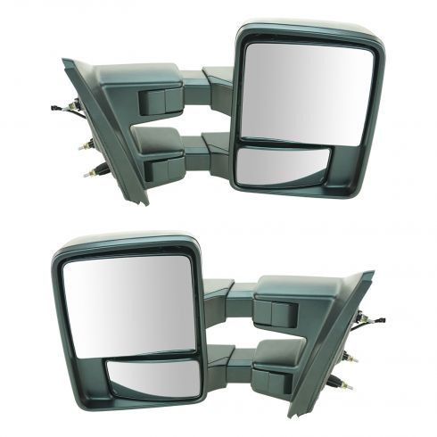 04-13 Ford F150 Power Folding Manual Glass Dual Arm & Glass Black Texture Towing Mirror PAIR