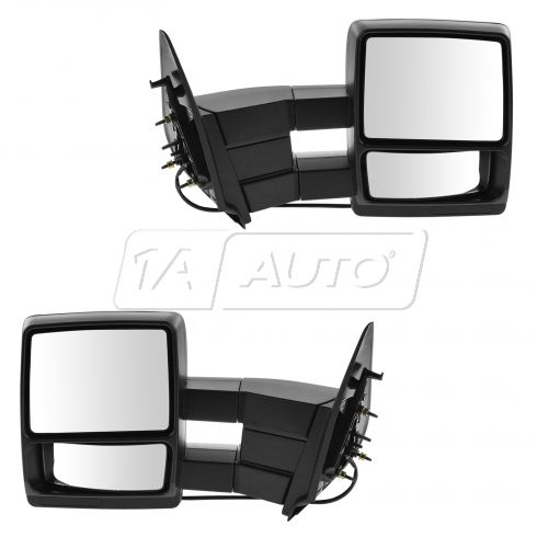 97-02 Ford Expedition Power Heated Dual Arm Towing w/Textured Black Cap Mirror (Upgrade) PAIR