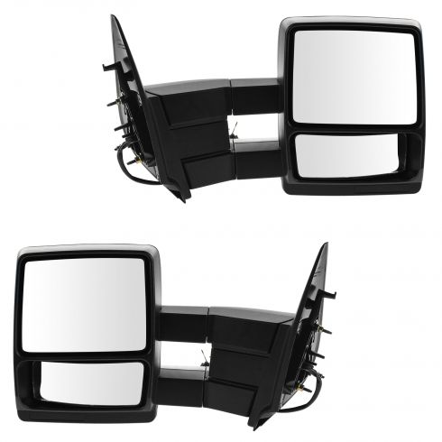 03-10 Ford Expedition Power Heated w/Puddle Light Dual Arm Towing Text Blk Cap Mirror (Upgrade) PAIR