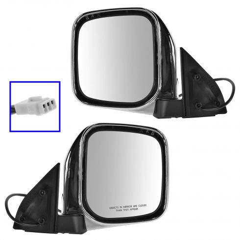 97-04 Mitsubishi Montero Sport Chrome Power Mirror PAIR