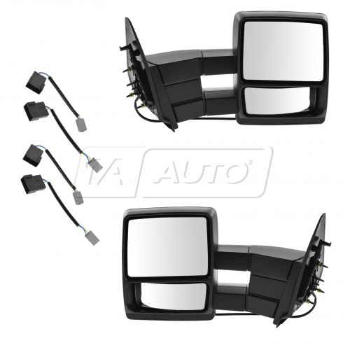 97 Ford Expedition Power Heated Dual Arm Towing w/Textured Black Cap Mirror (Upgrade) PAIR