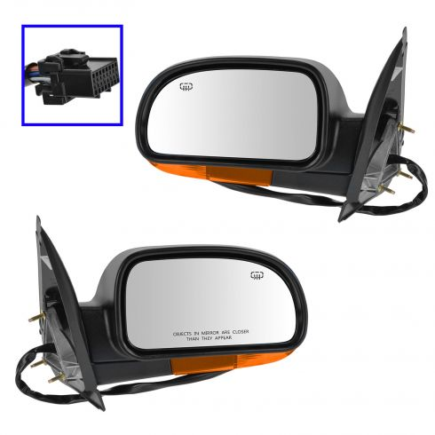 04-07 GM Mid Size SUV Pwr Htd Smooth Fin Mirror Man Fold w/Amber Turn Sig Cvr PAIR