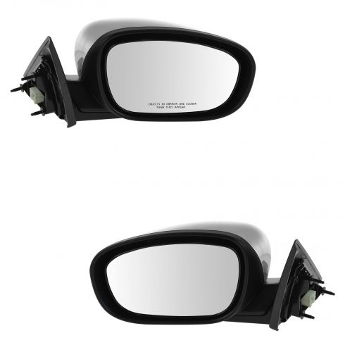 06-10 Chrysler 300; 05-08 Dodge Magnum Manual Folding Power Heated Black w/Chrome Cap Mirror Pair