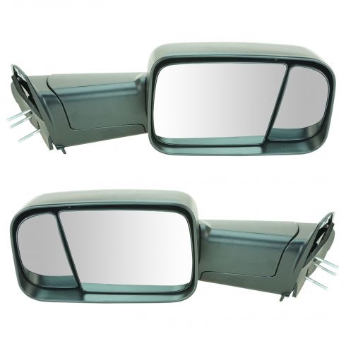 94-01 Dodge Ram 1500; 94-02 2500, 3500 Manual Text Black Tow Mirror (w/Spt Brkt & 4th Gen Head) PAIR