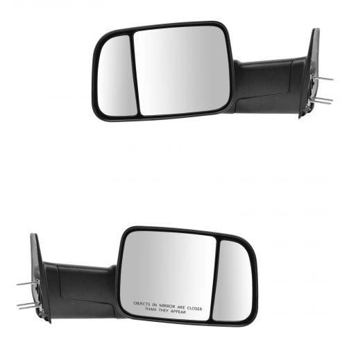 94-97 Dodge Ram 1500, 2500, 3500 Power Textured Blk Towing Mirror (w/Spt Brkts & 4th Gen Head) PAIR