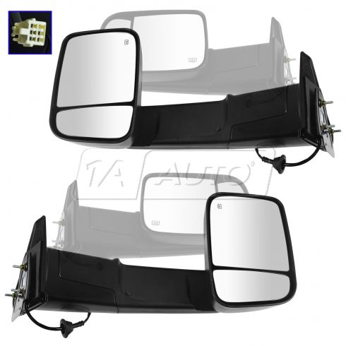 98-01 Dodge Ram 1500; 98-02 2500,3500 Power Htd Text Blk Tow Mirror (w/Spt Brkt & 4th Gen Head) PAIR