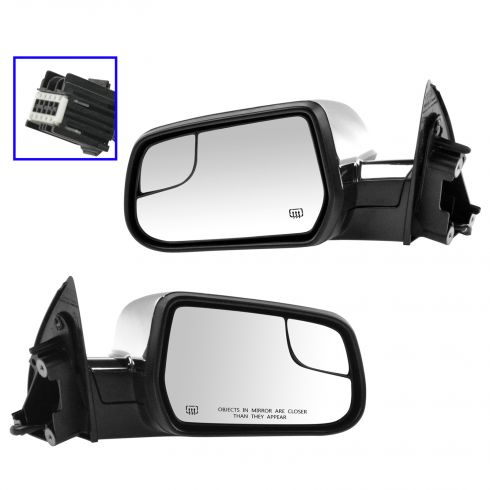 10-15 Equinox, Terrain Power Heated Textured Black w/Chrome Cap Mirror w/Convex Insert Pair