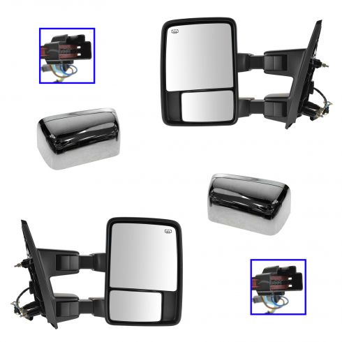 04-06 Ford F150 Power Folding Heated Smkd TS/Clrnce LT Dual Arm & Glss Blk Txt & PTM TOW Mir PAIR