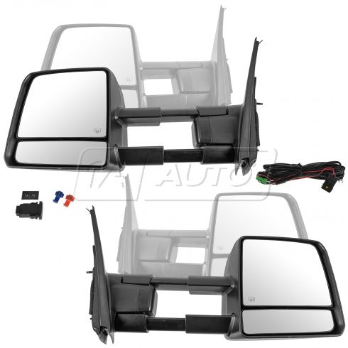 07-16 Tundra; 08-16 Sequoia Pwr Fld, Htd w/ Signal & Clearance Txt Black Towing Mirror PAIR Upgrade