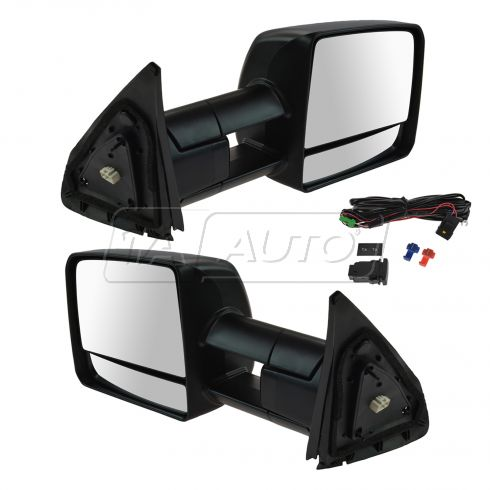 07-16 Tundra; 08-16 Sequoia Pwr Fld, Htd w/Mem, Smked Trn Sig & Clr Light Txt Blk Tow Mirror PAIR Up