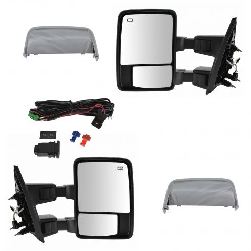 07-14 Ford F150 Power Fold Heat Smoke TS/Clrnce Light Dual Arm/Glass Chrome Upgrade Tow Mirror PAIR