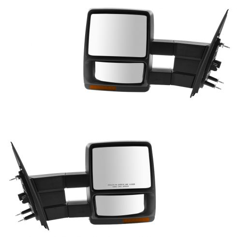 07-14 Ford F150 Power, Heated, Puddle Light, Turn Signal, Telescoping, Text Blk Tow Mirror PAIR (FD)