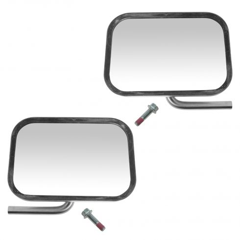 92-96 Bronco, F150; 92-97 F350, F450; 92-07 FS Van Chrome Mirror Head & Swing Arm PAIR (Ford)
