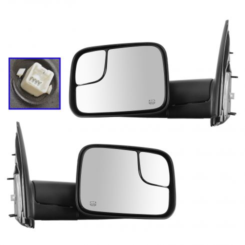 02-08 Dodge Ram 1500; 03-09 2500, 3500; 10 3500 Cab & Ch Power Heated Flip Up Tow Mirror PAIR (Mopar