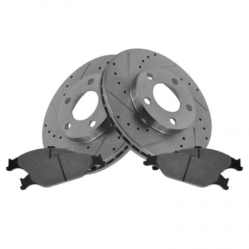 Front Performance Rotor & Posi Metallic Pad Kit 99-04 Mustang