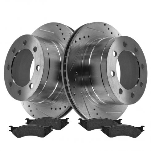 Rear Performance Rotor & Posi Metallic Pad Kit 03-08 Dodge 2500 3500