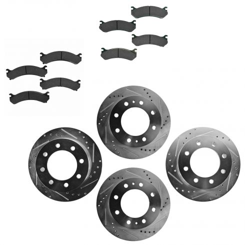 Front & Rear Performance Rotor & Posi Ceramic Pad Kit 01-10 Chevy Truck/SUV