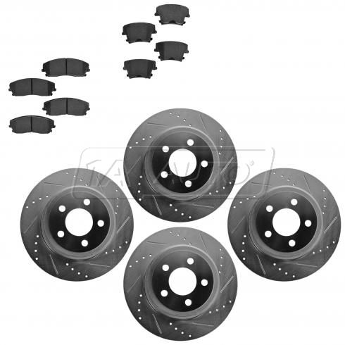 Front & Rear Performance Rotor & Posi Ceramic Pad Kit 05-10 300 09-13 Challenger