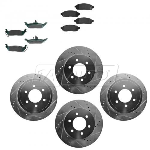 Front & Rear Performance Rotor & Posi Ceramic Pad Kit 04-08 Ford F150