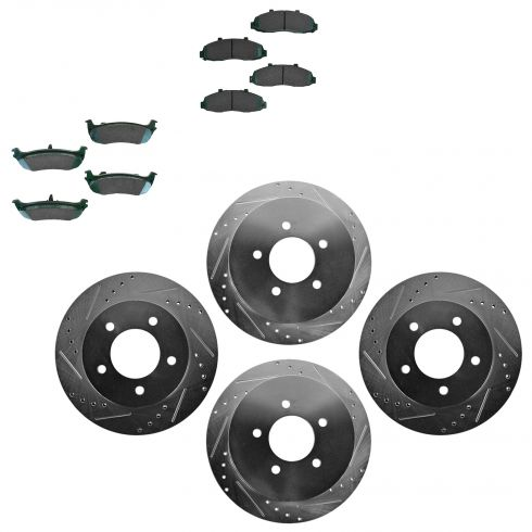 Front & Rear Performance Rotor & Posi Ceramic Pad Kit 00-04 F150