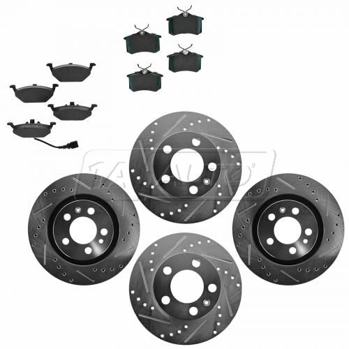 Front & Rear Performance Rotor & Posi Ceramic Pad Kit 99-10 VW Beetle Jetta Golf