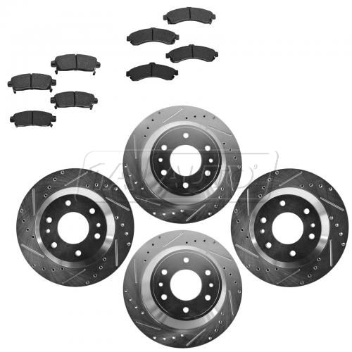 Front & Rear Performance Rotor & Posi Ceramic Pad Kit 02-05 Trailblazer, Envoy