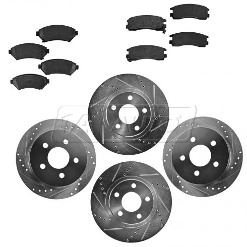 Front & Rear Performance Rotor & Posi Metallic Pad Kit 00-05 Impala