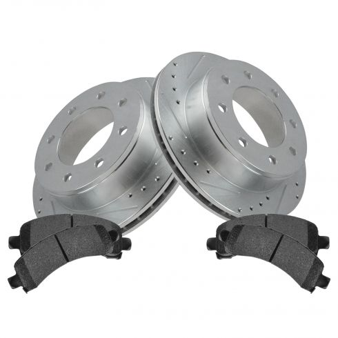 Rear Performance Rotor & Posi Metallic Pad Kit 03-14 Express Savana 2500, 3500