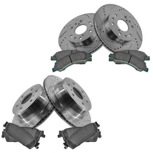 Front & Rear Performance Rotor & Posi Ceramic Pad Kit 08-13 Chevy Truck/SUV