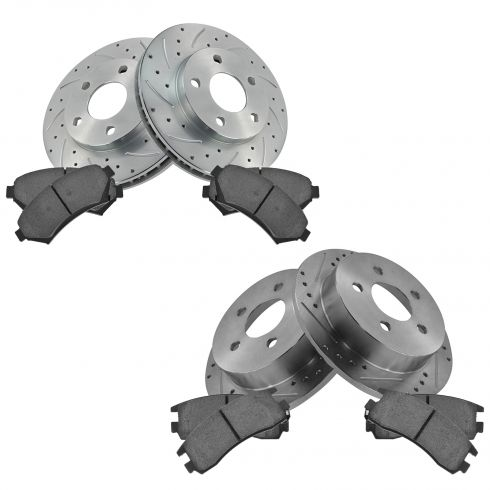 Front & Rear Performance Rotor & Posi Ceramic Pad Kit 97-04 Regal