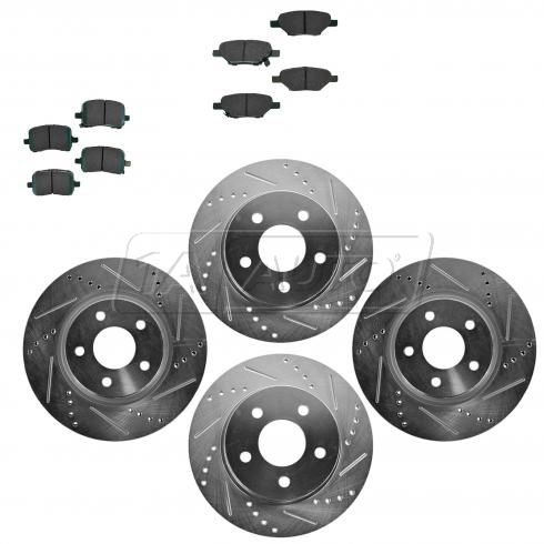 Front & Rear Performance Rotor & Posi Ceramic Pad Kit 04-09 Gm Fwd