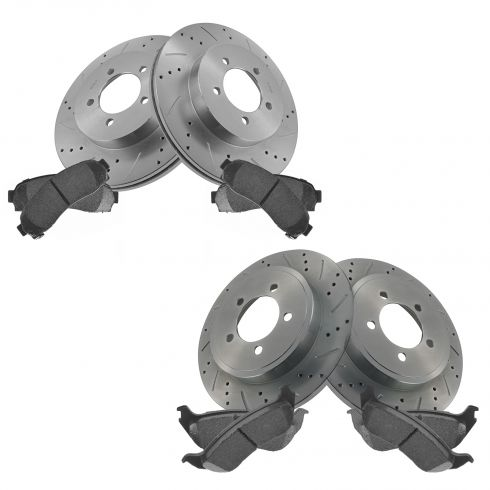 Front & Rear Performance Rotor & Posi Ceramic Pad Kit 02-05 Explorer Mountaineer