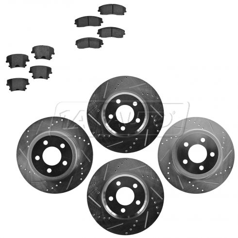 Front & Rear Performance Rotor & Posi Metallic Pad Kit 05-10 300 09-13Challenger