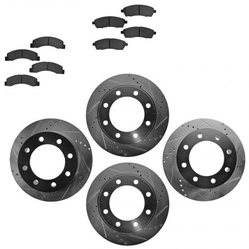Front & Rear Performance Rotor & Posi Metallic Pad Kit 99-04 F250, F350; 00-05 E