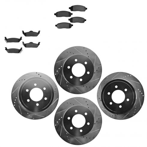 Front & Rear Performance Rotor & Posi Metallic Pad Kit 04-08 Ford F150