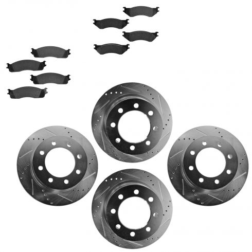 Front & Rear Performance Rotor & Posi Metallic Pad Kit 03-08Dodge 1500 2500 3500
