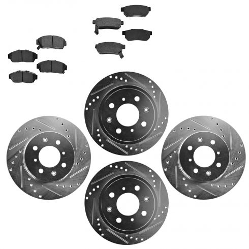 Front & Rear Performance Rotor & Posi Metallic Pad Kit 94-01Intergra 94-95 Civic