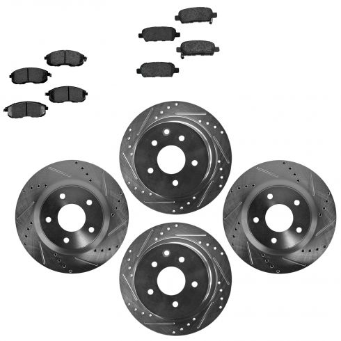 Front & Rear Performance Rotor & Posi Metallic Pad Kit 07-12 Nissan Altima