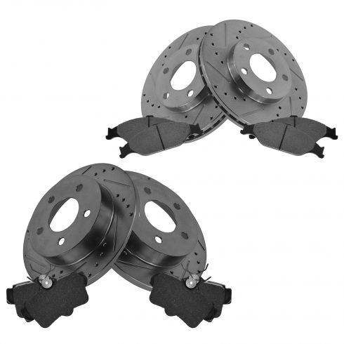 Front & Rear Performance Rotor & Posi Metallic Pad Kit 99-04 Mustang