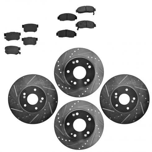 Front & Rear Performance Rotor & Posi Metallic Pad Kit 04-08 Acura TSX/Accord