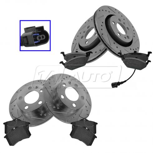 Front & Rear Performance Rotor & Posi Metallic Pad Kit 99-10VW Beetle Jetta Golf