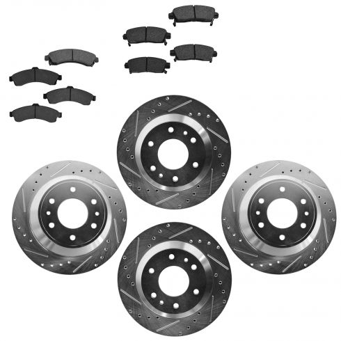 Front & Rear Performance Rotor & Posi Metallic Pad Kit 02-05 Trailblazer, Envo