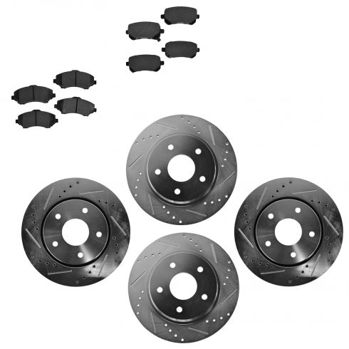 Front & Rear Performance Rotor & Posi Metallic Pad Kit 08-12Caravan 09-13Journey
