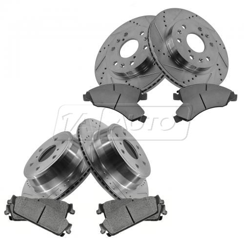 Front & Rear Performance Rotor & Posi Metallic Pad Kit 08-13 Chevy Truck/SUV