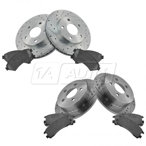 Front & Rear Performance Rotor & Posi Metallic Pad Kit 97-04 Regal
