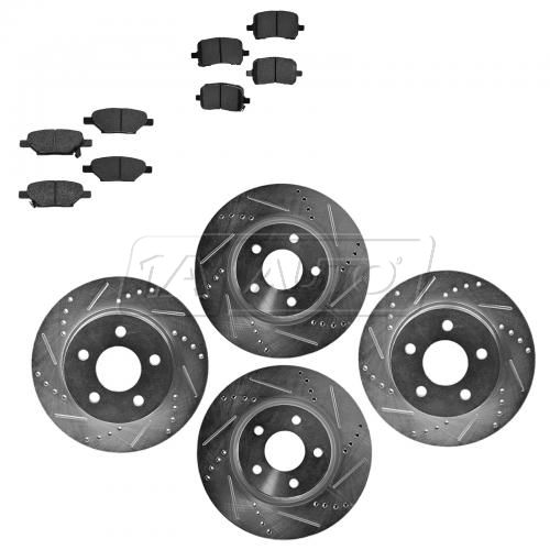 Front & Rear Performance Rotor & Posi Metallic Pad Kit 04-09 Gm Fwd